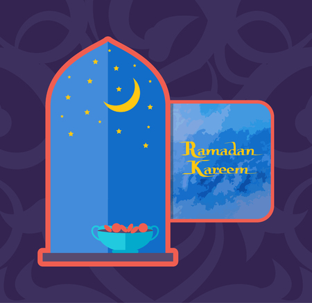 Ramadan Kareem Poster with Open Window, Bowl Dates