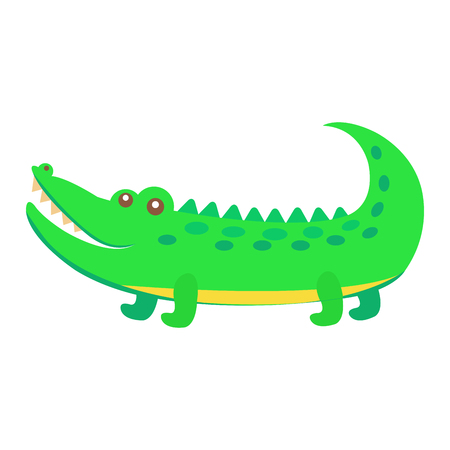 Cute funny green alligator or crocodile vector flat cartoon sticker isolated on white. African reptile animal illustration for game counters, price tags