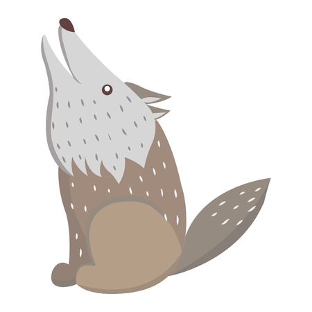 Cute funny grey howling wolf vector flat cartoon sticker isolated on white. Wild predatory animal illustration for game counters, price tags