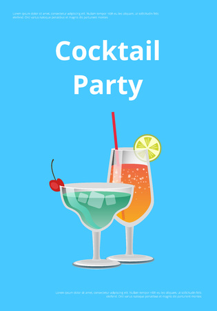 Cocktail party advertising poster with icons of alcohol drinks in festive decorated glasses. Vector illustration with beverages on blue background
