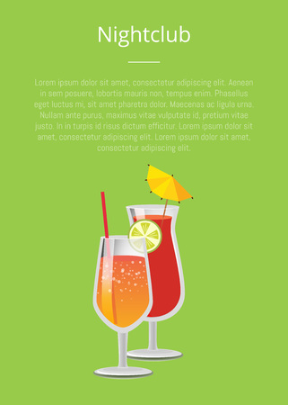 Nightclub parties with lemonade cocktails in glasses, with straw decorated by lemon on top vector illustration isolated on green with place for text
