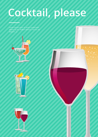 Cocktail, please drink types advertising poster with icons of alcoholic drinks in festive decorated glasses. Vector illustration with beverages on green background
