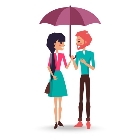 Brunette woman in puffy skirt and pink jacket and redhead man with beard in blue sweater and brown trousers stand under umbrella vector illustration. Illustration