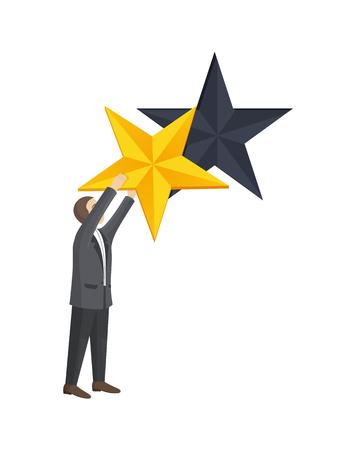 L'homme a donné une étoile dorée pour améliorer l'illustration vectorielle de niveau d'évaluation de l'homme d'affaires isolé sur blanc. Meilleur choix d'appréciation masculine, reconnaissant de haute qualité