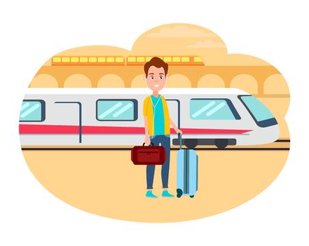 Uomo con bagaglio in attesa per il treno alla stazione ferroviaria Vettoriali