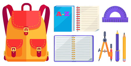 Rucksack for girl in orange and red color with big pockets and metal fasteners, open exercise book, protractor and compass divider isolated on white background