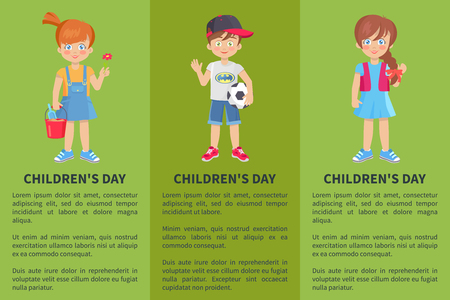 Childrens day web banner with playful boy and girl isolated on green background. Happy schoolboy with ball schoolgirls in cartoon style