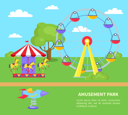 Amusement park with sightseeing wheel, merry-go-round with horses, rocket on spin on green lawn with tree vector illustration advertisement poster