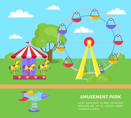 Vergnügungspark mit Sightseeing-Rad, Karussell mit Pferden, Rakete auf Spin auf grünem Rasen mit Baumvektorillustrations-Werbeplakat