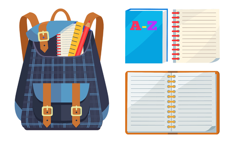 Dark blue backpack in checkered fabric with school stationery accessories pencil, wooden and open ABC copybook vector illustration isolated on white.