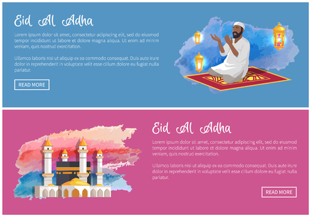 Eid Al Adha Web Banners with Arab Man and Mosque