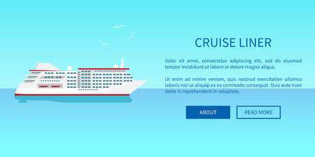 Cruise liner web page design in travelling concept. Advertisement poster offering traveling on steamer by sea or ocean vector illustration