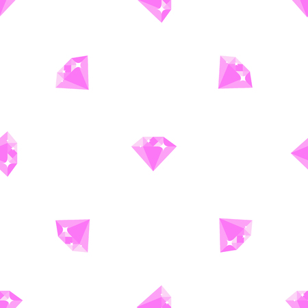 Pink shiny diamonds seamless pattern on white background. Luxurious expensive precious stone isolated vector illustration.