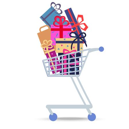 Carrello della spesa pieno di scatole su sfondo bianco. Illustrazione vettoriale isolata a tema commerciale del carrello con pacchetti di roba