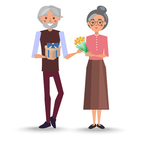 Gray-haired grandfather presents yellow bouquet of mimosa and gift with blue ribbon to grandmother in glasses vector illustration
