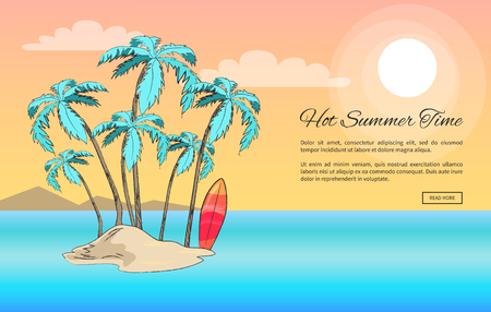 Hot summer time web banner vector illustration of small island with palm trees and surfboard against background of mountains and light pink sky