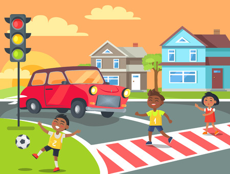 Kids crossing road with red car giving them way while boy is playing with ball on lawn in front of traffic lights vector illustration
