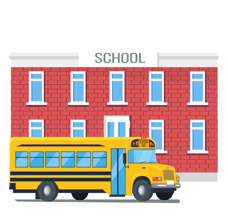 Bus Passing School Isolated Cartoon Illustration