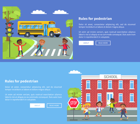 Rules for pedestrian vector web banner in graphic design of pupils crossing road near moving yellow bus or entering school building Vettoriali