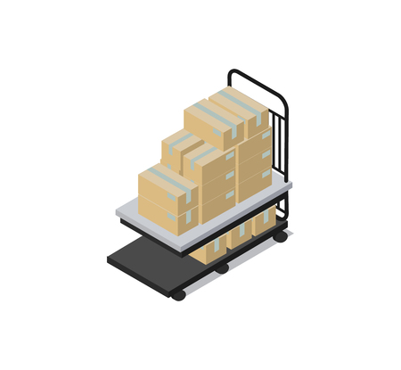 Cart loaded with boxes factory containers receptacles for permanent temporary use as storage transporting contents isolated on vector illustration Illustration