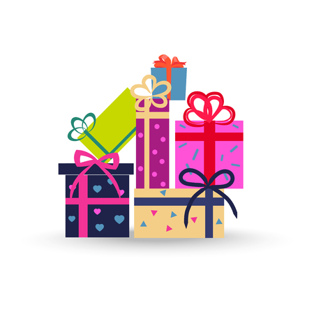 Colorful gift boxes on white background. Big stack of christmas presents. Decorative stylish wrap for package with ribbons and bows.