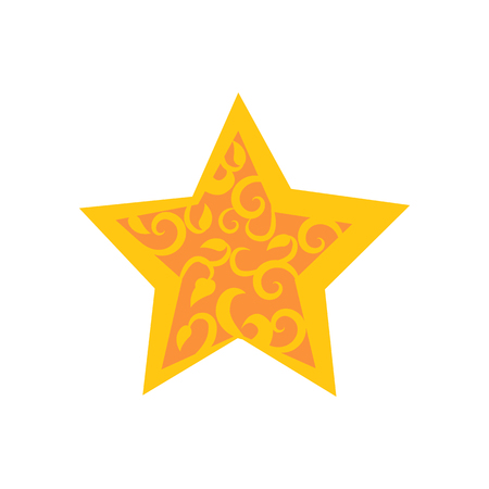 Golden Star Decorated by Arabic Ornaments Floral