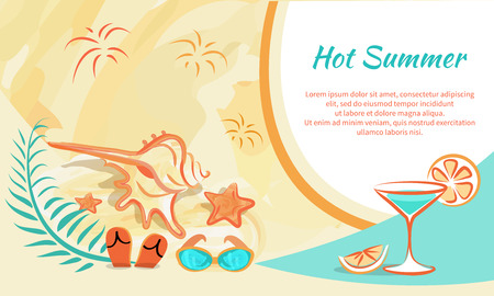 Hot Summer Banner Vector Illustration Attributes