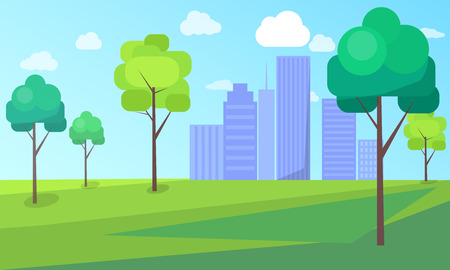 Landscape scenery of city park with green trees and skyscrapers on background vector illustration. Buildings in ecologically clean environment
