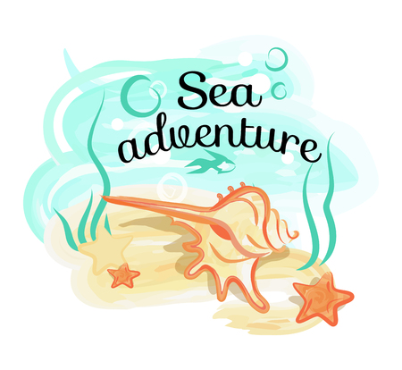 Sea Adventure Poster with Shell Lies in Deep Ocean Stock Photo