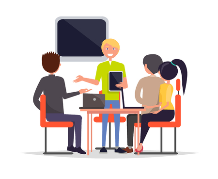 Business meeting of people sitting on chairs and listening to man holding tablet, tv set laptop placed on table, employees seminar vector illustration Banque d'images - 111943569