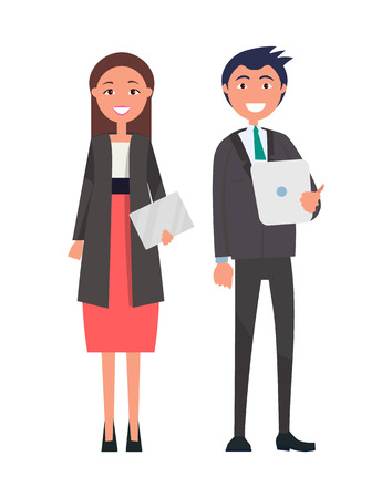 Successful team, confident leaders vector well-dressed brunette woman in red skirt on high heels, with envelope in hands and handsome man with tablet Imagens - 111943570
