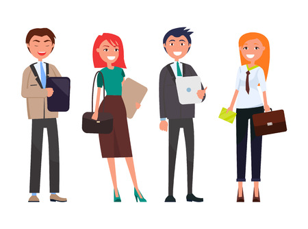 Hombres y mujeres de negocios con tabletas digitales aisladas conjunto. Personas en equipo exitoso de vector de reunión de negocios, empleadores bien vestidos con trajes caros