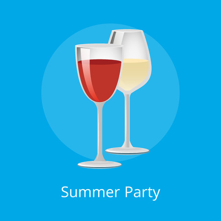 Summer party poster glasses of elite red and white wine classical alcohol drinks in elegant glassware vector winery refreshing merlot burgundy beverage Illustration