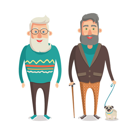 Grandparents walking set, grandfather together holding stick made of wood and strolling with dog, grandpa wearing knitted sweater vector illustration