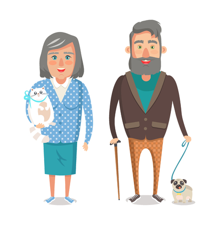 Mature grandparents with favourite pets, grandmother holds pussy cat and man with cute puppy on leash vector illustration of people on retirement isolated Banque d'images - 111943577