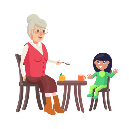 Grandmother and granddaughter trying to feed little girl, family sitting by table enjoying time together, orange cup, ripe apple vector illustration