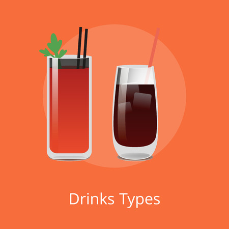Drink types Bloody Mary and Vodka cola cocktails containing alcohol, tomato juice, spices and flavorings, including parsley leaf, whiskey or rum vector Çizim