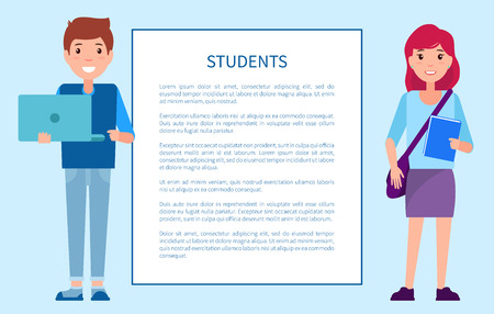 Students poster frame text, boy in sweater and trousers holds notebook in hands, girl in skirt blouse, paper book and handbag vector schoolchildren Banque d'images - 111943587