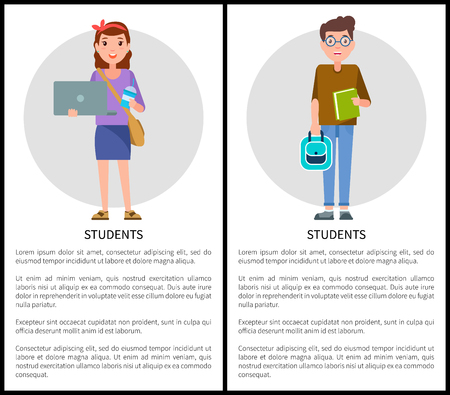 Students posters collection with text sample and headlines, girl holding laptop, boy standing carrying green book in hands, set vector illustration