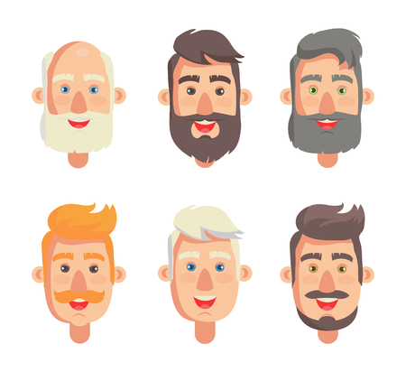 Grandfathers face collection, grandparent with beard and moustache, head set having smiling, positive expression, isolated on vector illustration