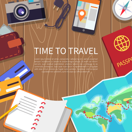 Time to Travel Poster Set Illustration Иллюстрация