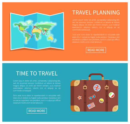 Travel planning web pages text sample with headlines, worl map and luggage decorated stickers of famous landmarks collection, vector illustration Illustration