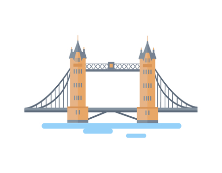 Large London Tower Bridge as famous English attraction. Popular touristic place in Britain. Architectural sight isolated cartoon vector illustration.