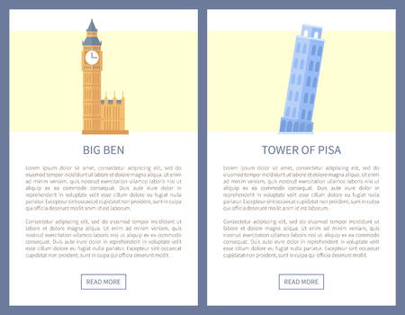 Big Ben and Tower of Pisa on info travel posters. Journey to Italy or England promo banners with sample text. Historic monuments vector illustartions.