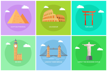 Popular World Sights on Colorful Promo Banners Set Ilustrace