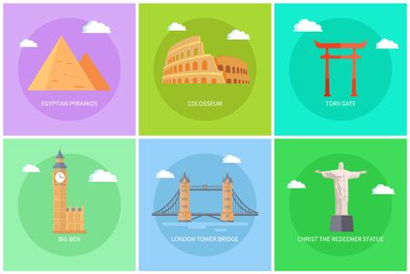 Popular World Sights on Colorful Promo Banners Set Illustration