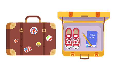 Suitcases set, traveler s equipment color poster isolated on white vector illustration of tourist bags with stickers collection, sneakers and notepad