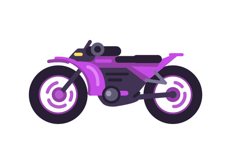 Modern fast sport bike in shiny purple corpus. Extreme transport with powerful engine. Stylish personal vehicle isolated cartoon vector illustration. Archivio Fotografico - 111943601