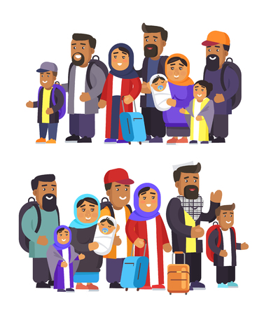 Arabian people collection, woman wearing hijab, holding newborn child, family traveling together, group of travelers, isolated on vector illustration Illustration