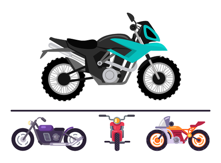 Fashionable motorcycles models set, motorbikes of various color, moped transportation items collection isolated on white, motorized scooters for travel